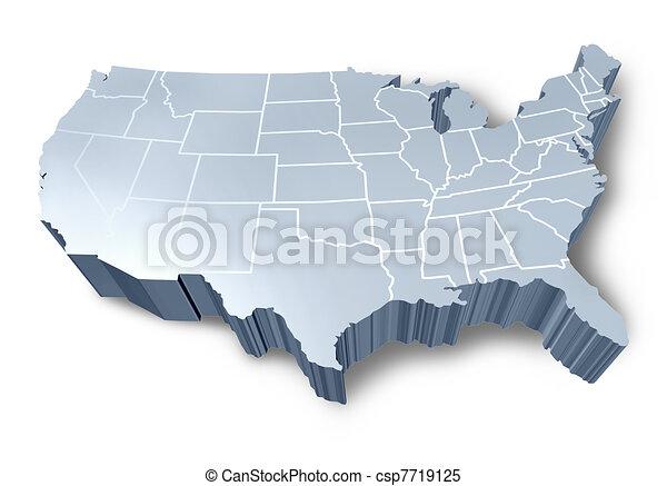 mappa, u.s.a, 3d - csp7719125