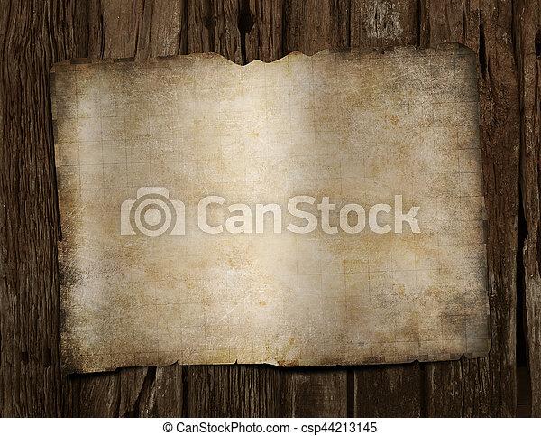 mappa, vecchio, pirati, legno, tesoro, vuoto, scrivania - csp44213145