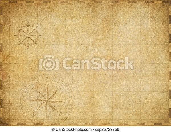 mappa, vecchio, vendemmia, nautico, portato, fondo, vuoto, pergamena - csp25729758