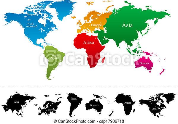 mappa, vettore, continenti, colorito, mondo - csp17906718