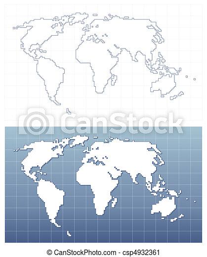 mappa, vettore, pixel, mondo, formato - csp4932361