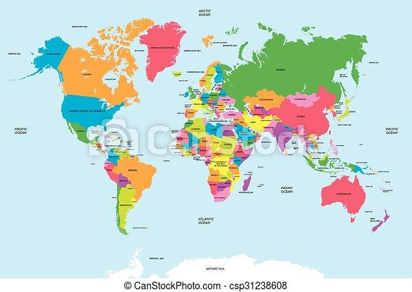 Cartina Mondo Politico.Mappa Vettore Politico Mondo Canstock