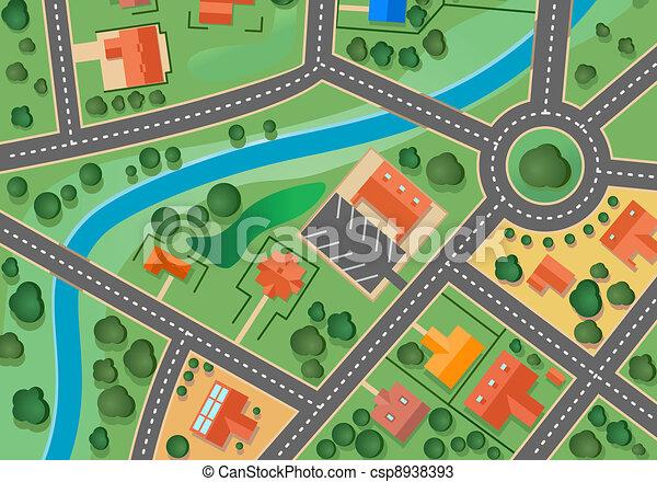 mappa, villaggio, sobborgo - csp8938393