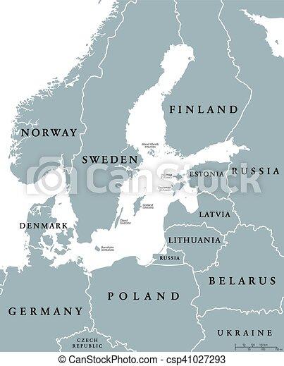 Mar Baltico Mapa Fisico.Mappa Zona Paesi Politico Mare Baltico