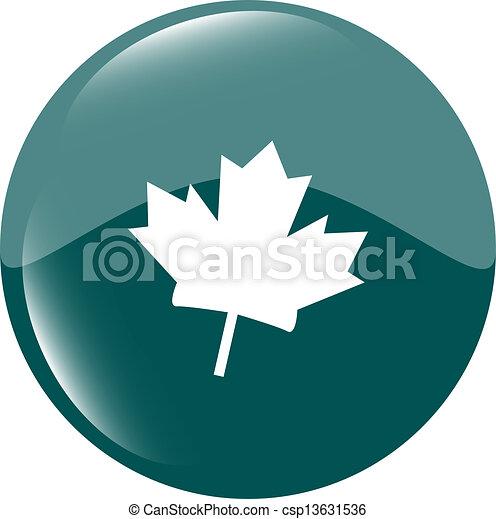 mapple leaf icon glassy green button - csp13631536