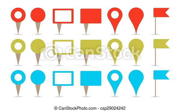 maps pins map pins in colors red green and blue