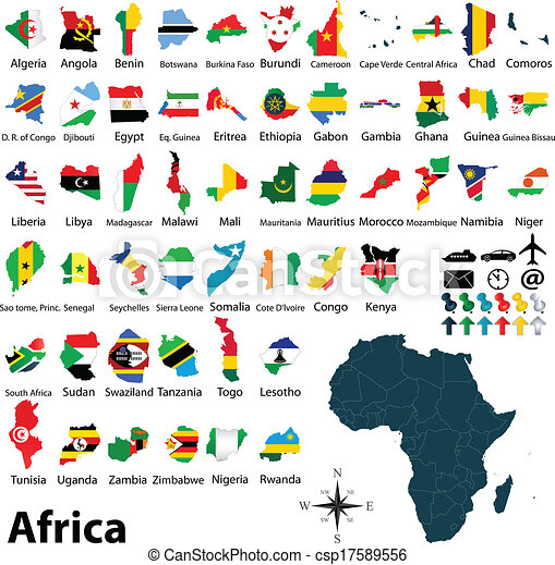 Maps with flags of africa Vector of political map of africa