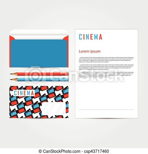 Maqueta, empresa / negocio, cine, set., plantilla, identidad ...