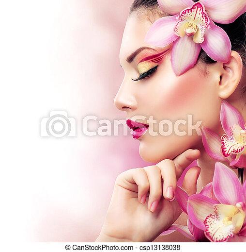 maquillage, girl, parfait, flowers., orchidée, beau - csp13138038