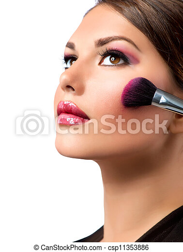 maquillage, makeup., blusher, applying., rouge. - csp11353886