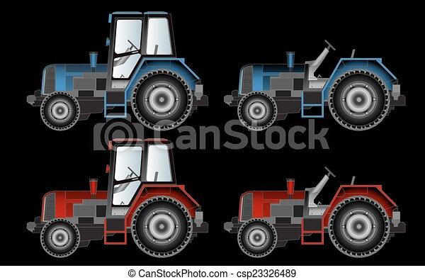 Máquinas agrícolas, tractores, vectores - csp23326489