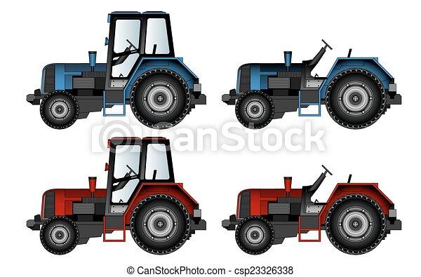 Máquinas agrícolas, tractores, vectores - csp23326338