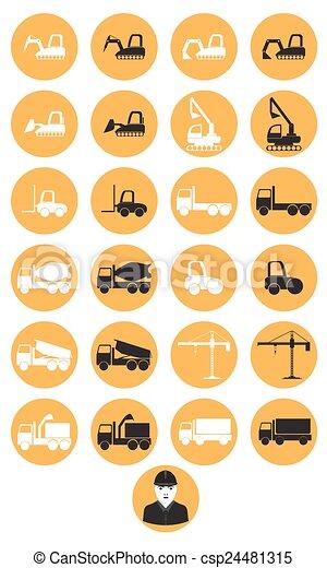 maquinaria construção, ícones - csp24481315