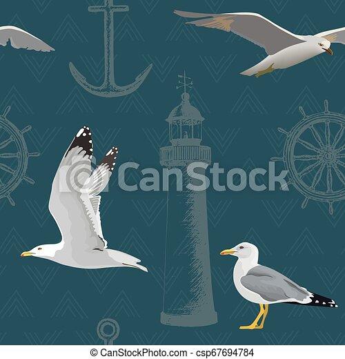 maradék, mód, haditengerészeti, fény, becsap, house., seamless, vezetés, lebegés, tinta, skicc, akol, vasmacska, pattern., bevésett, kormánykerék - csp67694784