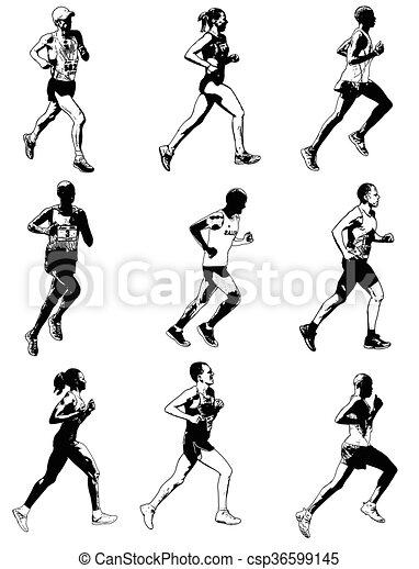 marathon illustration  - csp36599145