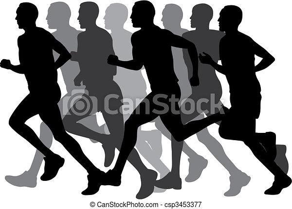 Marathon Abstract Vector Illustration Of Runners