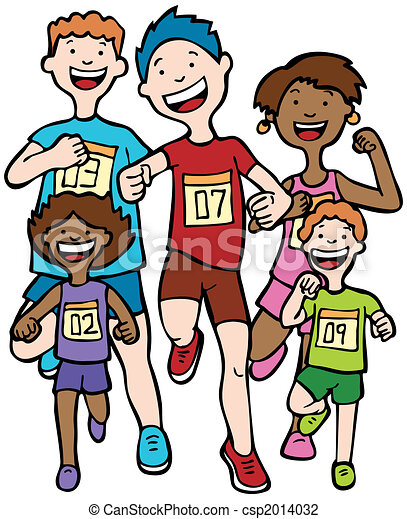 marathon kid race children running together in a race clip art rh canstockphoto com People Running Clip Art Weights Clip Art