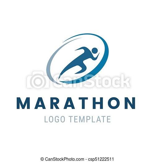 Marathon Run Logo Template Run Man Symbol Vector Illustration Of