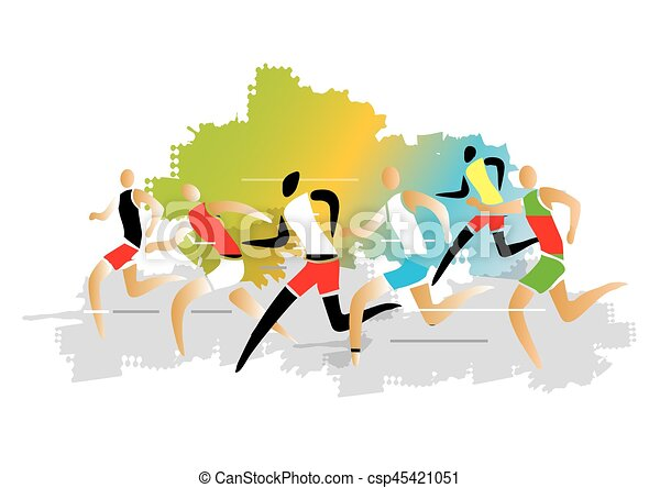 Marathon Runner Race Group Of Runners Racing Colorful Stylized