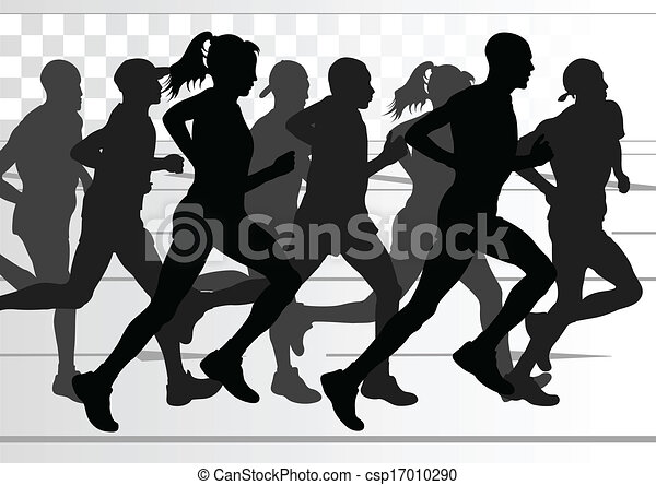 Marathon runners detailed active man and woman illustration - csp17010290
