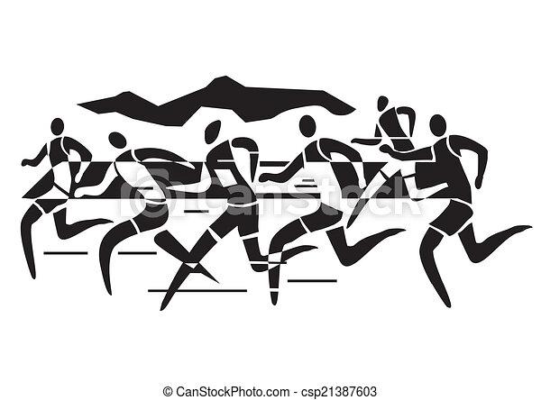 Stylized Drawing Of Marathon Runnersvector Illustration