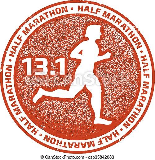 Marathon Running Sport Stamp - csp35842083