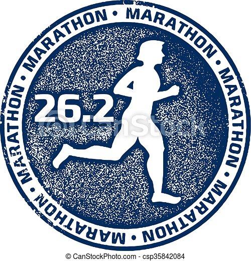Marathon Running Sport Stamp - csp35842084