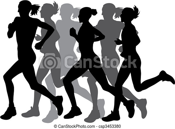 abstract vector illustration of marathon runners vector clipart rh canstockphoto com running clip art black and white running clip art pictures