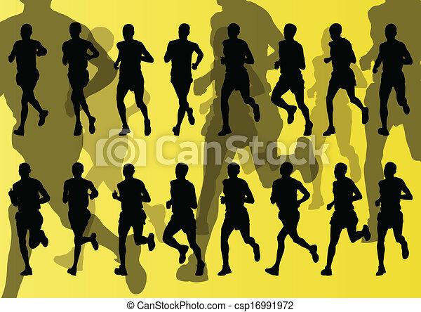 maraton, wektor, biegacze, tło - csp16991972