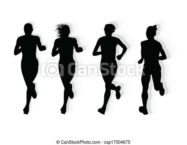 maraton, wektor, biegacze, tło - csp17004675