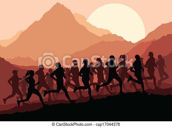 maraton, wektor, biegacze, tło - csp17044378