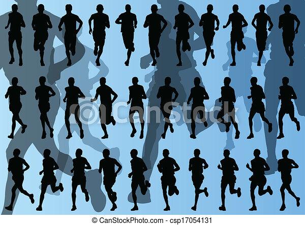 maraton, wektor, biegacze, tło - csp17054131
