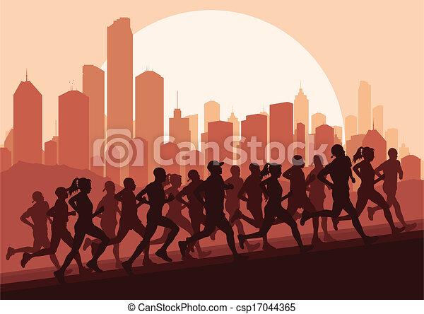 maraton, wektor, biegacze, tło - csp17044365
