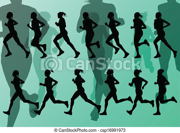 maratona, vetorial, corredores, fundo - csp16991973