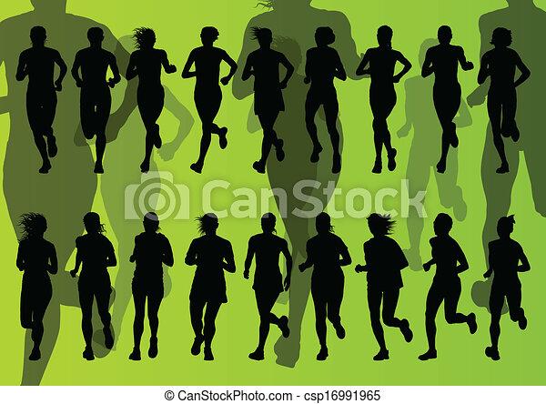 maratona, vetorial, corredores, fundo - csp16991965
