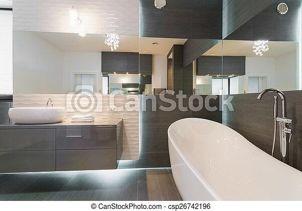 Maravilloso, moderno, diseño, cuarto de baño. Cuarto de baño ...
