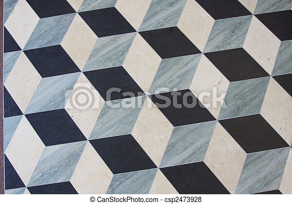 Marble Floor Which Looks Like Dimensional Cubes Marble Floor - 3 dimensional floors