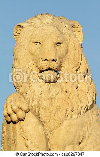 marble lion sculpture - csp8267847