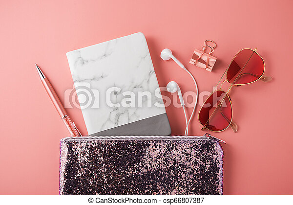 Marble notebook with sunglasses in fashion glitter bag - csp66807387