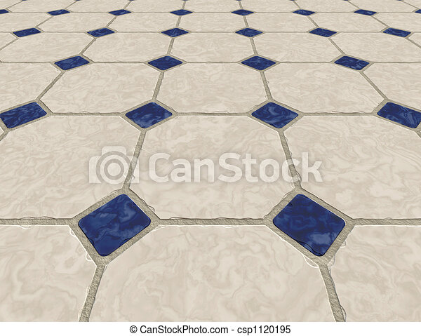 Large Marble Tiled Floor Background Image With Small Blue Tiles