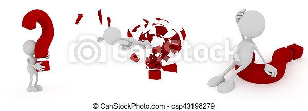 Hombre 3D con signo de interrogación - csp43198279