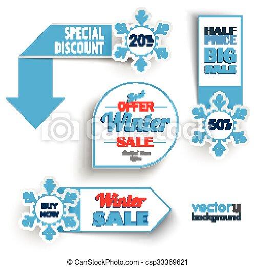 marcadores, venda, inverno, snowflakes - csp33369621