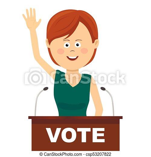 La política femenina hace un discurso de campaña - csp53207822