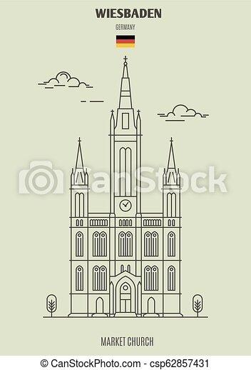 marché, église, germany., repère, wiesbaden, icône - csp62857431