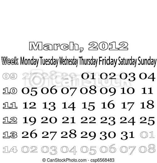 March 2012 monthly calendar - csp6568483