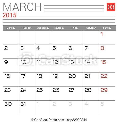 March 2015 Calendar Vector Design Template Simple Blank Calendar