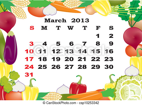 March- monthly calendar 2013 in frame with vegetables - csp10253342