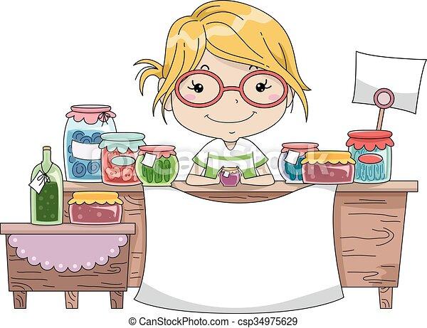 marchandises, compteur, fait, maison, girl, bannière, gosse - csp34975629