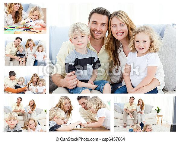 marchandises, famille, collage, ensemble, dépenser, poser, moments, maison - csp6457664