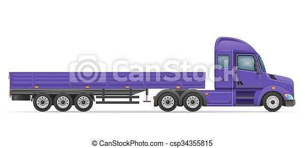 Marchandises, transport, semi, illustration, vecteur ...